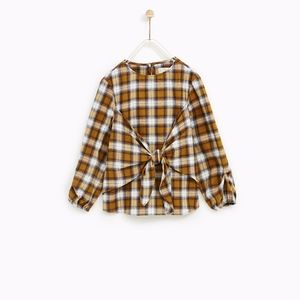 Zara girls brown and white checked blouse with bow